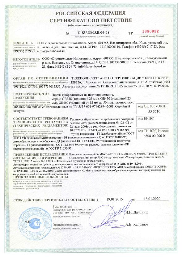 Сертификат Грин Борд